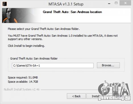 Окно указания директории установки MTA San Andreas