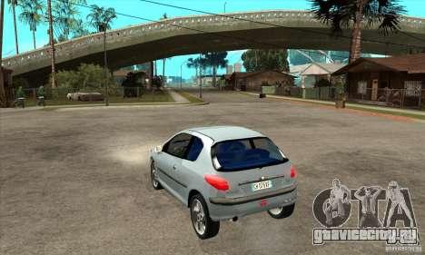 Peugeot 206 для GTA San Andreas вид сзади слева