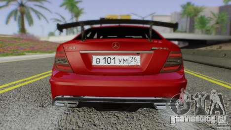 Mercedes Benz C63 AMG Black Series 2012 для GTA San Andreas вид сбоку