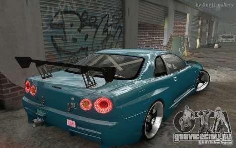 Nissan SkyLine BNR34 для GTA 4 вид изнутри