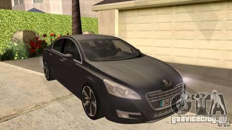 Peugeot 508 2011 EU plates для GTA San Andreas вид сзади