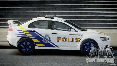 Mitsubishi Evolution X Police Car [ELS] для GTA 4 вид слева