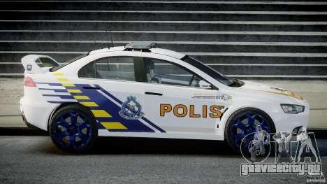 Mitsubishi Evolution X Police Car [ELS] для GTA 4 вид слева