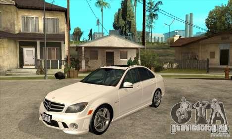 Mercedes-Benz C63 AMG 2010 для GTA San Andreas вид сбоку