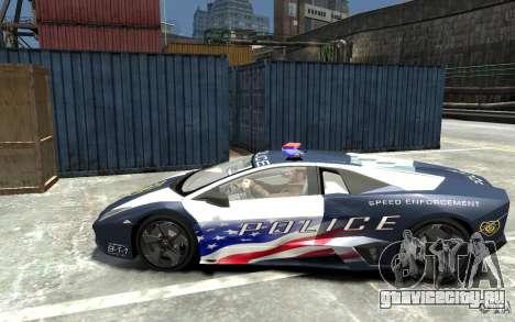 Lamborghini Reventon Police Stinger Version для GTA 4 вид слева