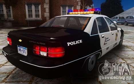 Chevrolet Caprice 1991 Police для GTA 4 вид сзади
