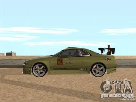 Nissan Skyline R34 VeilSide для GTA San Andreas вид снизу