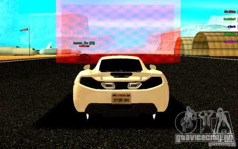 McLaren MP4-12C 2011 для GTA San Andreas вид сзади слева