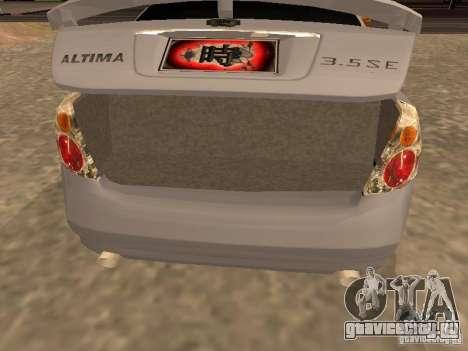 NISSAN ALTIMA для GTA San Andreas вид сзади