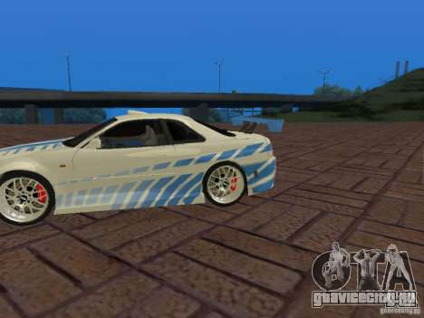 Nissan Skyline GT-R R34 Tunable для GTA San Andreas вид сверху