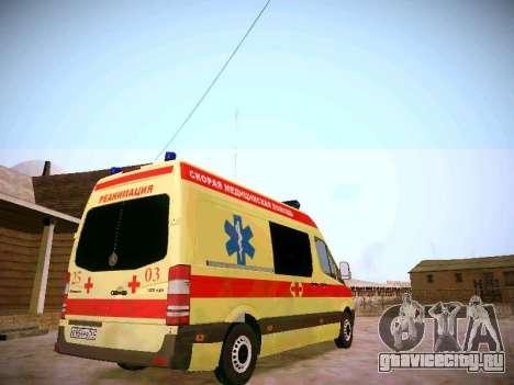 Mercedes Benz Sprinter Ambulance для GTA San Andreas вид справа