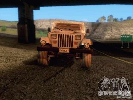 Jeep Wrangler 1994 для GTA San Andreas вид сверху