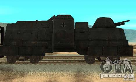 Немецкий бронепоезд второй мировой для GTA San Andreas вид слева