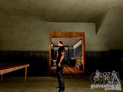 Черная футболка с огненным черепом для GTA San Andreas второй скриншот