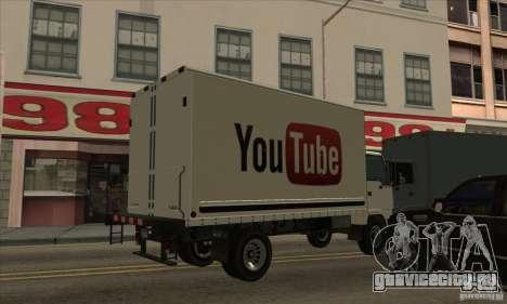Грузовик с логотипом YouTube для GTA San Andreas вид слева