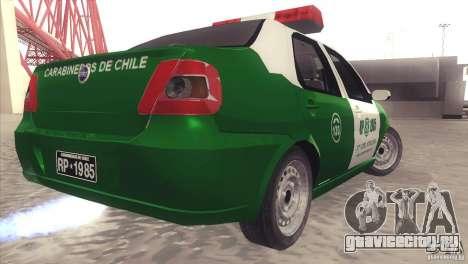 Fiat Siena Carabineros De Chile для GTA San Andreas вид сзади слева