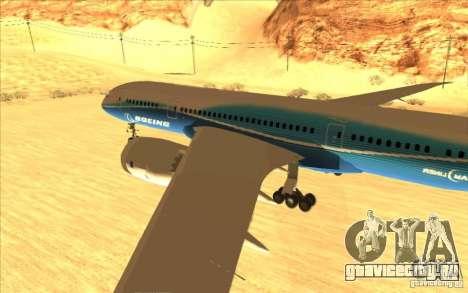 Boeing 787 Dreamlinear для GTA San Andreas вид сзади слева