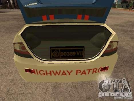 Mitsubishi Lancer Police Indonesia для GTA San Andreas вид сзади