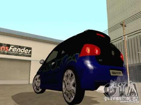 Volkswagen Golf V GTI для GTA San Andreas вид изнутри