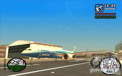 Boeing 787 Dreamlinear для GTA San Andreas вид слева