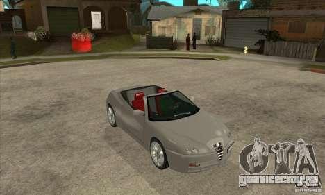 Alfa Romeo Spyder для GTA San Andreas вид сзади