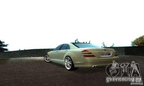 Mercedes-Benz S500 W221 Brabus для GTA San Andreas вид сзади