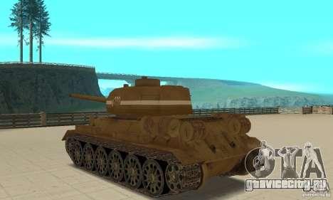 Танк T-34 для GTA San Andreas вид сзади слева