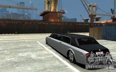 Rolls-Royce Phantom Sapphire Limousine v.1.2 для GTA 4 вид сзади слева