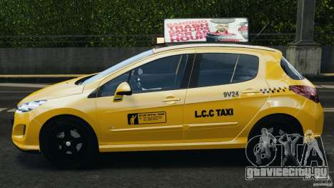 Peugeot 308 GTi 2011 Taxi v1.1 для GTA 4 вид слева