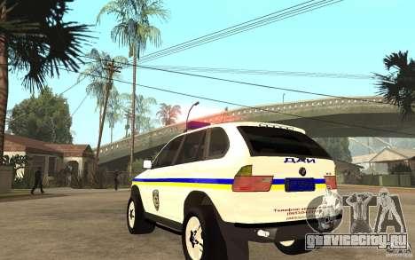 BMW X5 ДАІ для GTA San Andreas вид сзади слева