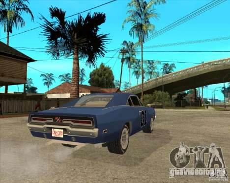 Dodge Charger General Lee Генерал Ли для GTA San Andreas вид сзади слева