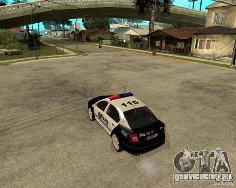 Skoda Octavia II 2005 SAPD POLICE для GTA San Andreas вид сзади слева