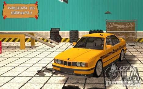 BMW E34 535i Taxi для GTA San Andreas вид изнутри