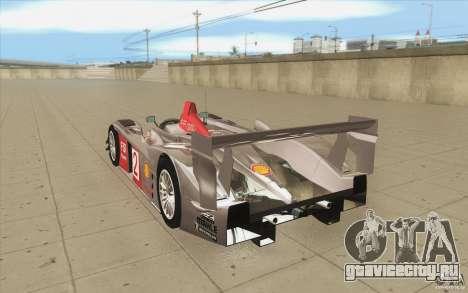 Audi R10 LeMans - Stock для GTA San Andreas вид сзади слева