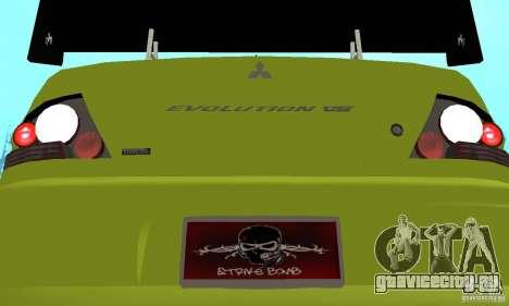 Mitsubishi Lancer Evo The Fast and the Furious 2 для GTA San Andreas вид изнутри