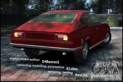Audi 100 Coupe S 1974 для GTA 4 вид слева
