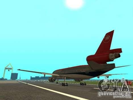 McDonell Douglas DC 10 Nortwest Airlines для GTA San Andreas вид справа