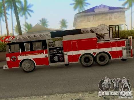Pierce Firetruck Ladder SA Fire Department для GTA San Andreas вид сзади слева