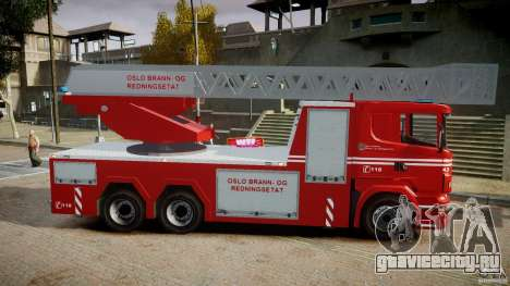 Scania Fire Ladder v1.1 Emerglights blue [ELS] для GTA 4 вид сзади
