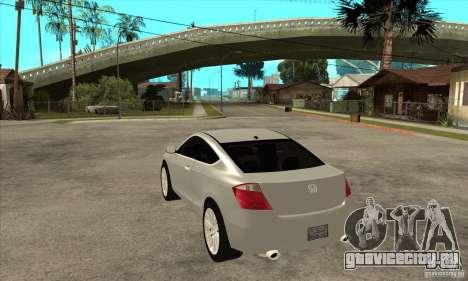 Honda Accord Coupe 2009 для GTA San Andreas вид сзади слева