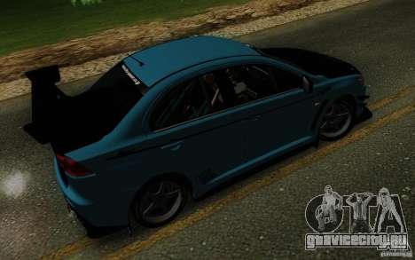 Mitsubishi Lancer Evolution X Tunable для GTA San Andreas вид сверху