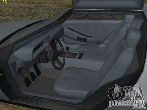 DeLorean DMC-12 для GTA San Andreas вид изнутри