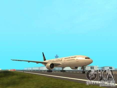 Boeing 777-200 Singapore Airlines для GTA San Andreas вид слева