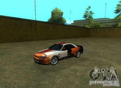 Nissan Skyline GTR-34 для GTA San Andreas двигатель