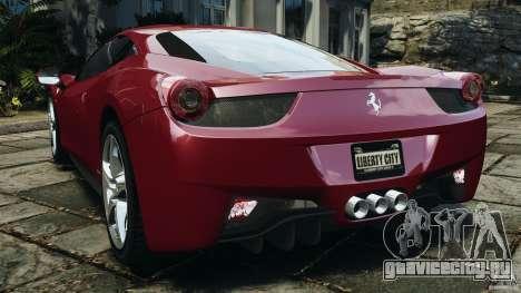 Ferrari 458 Italia 2010 v2.0 для GTA 4 вид сзади слева