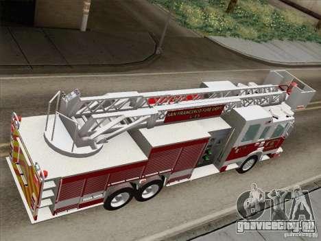 Pierce Aerials Platform. SFFD Ladder 15 для GTA San Andreas вид сзади