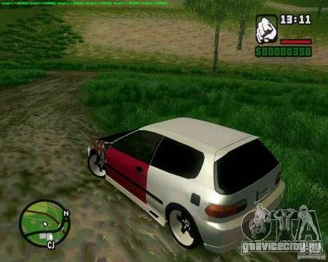 Honda Civic Hellaflush для GTA San Andreas вид сзади слева