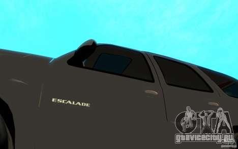 Cadillac Escalade для GTA San Andreas вид изнутри