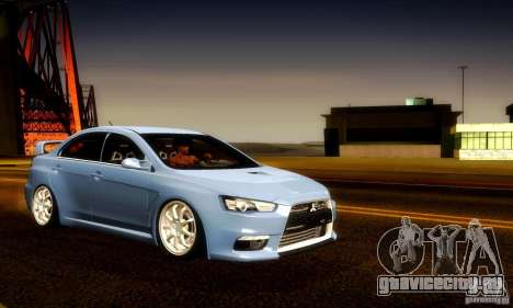 Mitsubishi Lancer Evolution X для GTA San Andreas двигатель