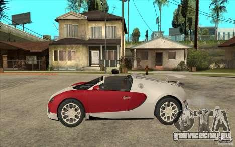 Bugatti Veyron Gran Sport 2011 для GTA San Andreas вид слева